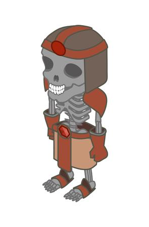 scary story: Stylized skeleton. Vector. Isometric