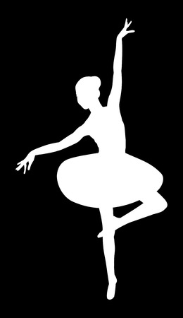 negative returns: white silhouette of a ballerina on a black background