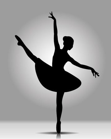 na: monochrome image. black silhouette of a ballerina on a gray background