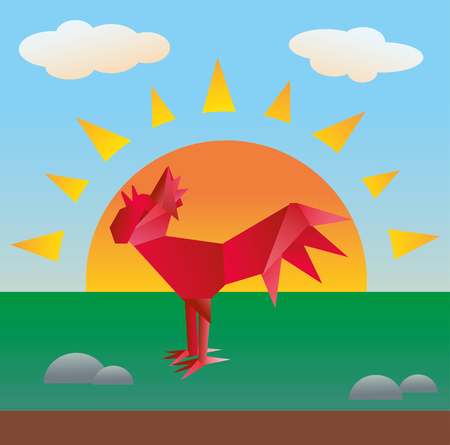 rooster at dawn: Paper red rooster on the background of dawn Illustration