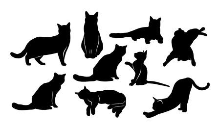 set di immagini di sagome di gatti con diverse posture