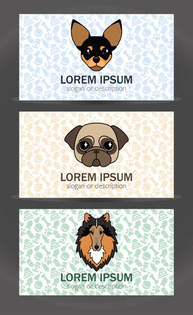 breeder: business card templates set of a small veterinary clinic, dog breeder, pet store