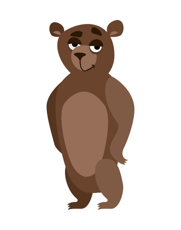 maldestro: illustrazione orso bruno cartone animato su uno sfondo bianco
