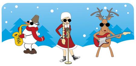 cartoon Christmas card. girl, snowman and reindeer on a blue background Vectores