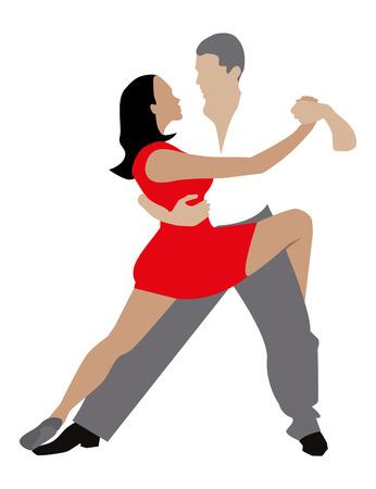 siluetas de mujeres: hombre y una mujer bailando la danza apasionada.