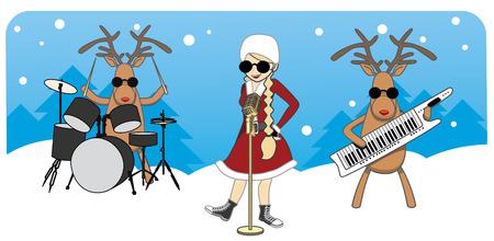 cartoon Christmas card. Maiden sings, reindeer play musical instruments Stock Illustratie