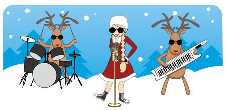 cartoon Christmas card. Maiden sings, reindeer play musical instruments Illustration