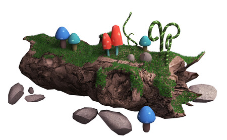 3d illustration on a white background. old fallen tree and mushrooms Stock Photo