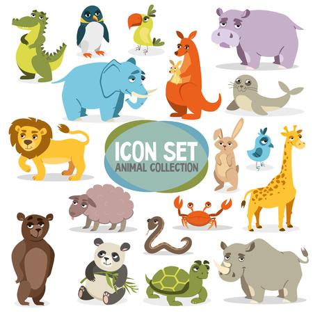 set of funny animals. vector image on white background Illustration