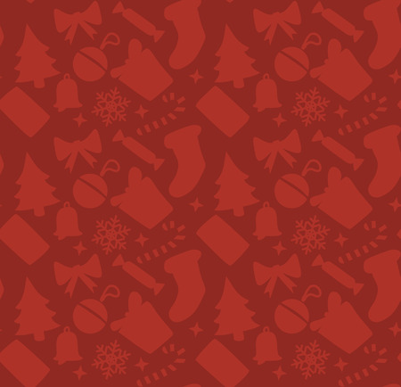 red wallpaper: red square christmas background. Vector seamless wallpaper