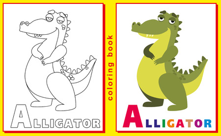prodigy: Coloring Book for Kids with letters and words. Litter A. Alligator. vector image.