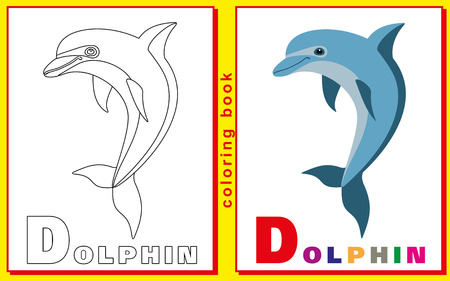 prodigy: childrens coloring book with letters and words. the letter D. Dolphin. vector image.