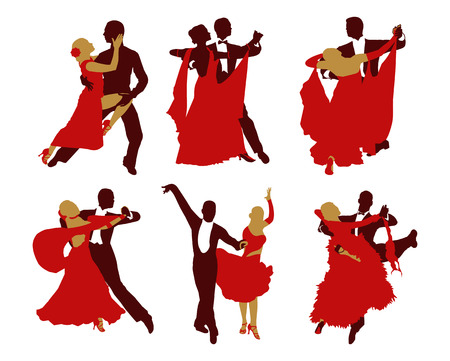 set of silhouettes of dancing couples.