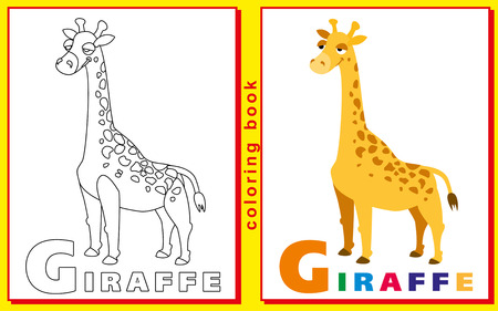 prodigy: Coloring Book for Kids with letters and words. giraffe. Illustration