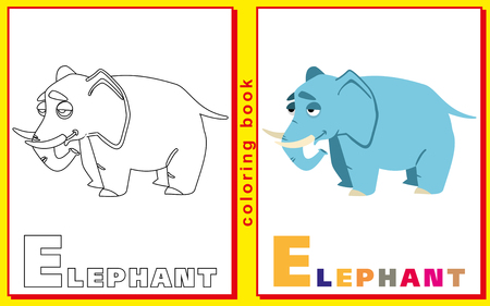 elephant. Children coloring with the letters.