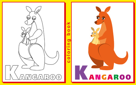 prodigy: kangaroo. Coloring book with letters for children. Illustration