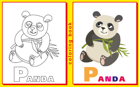 prodigy: panda. Children coloring with the letters. Illustration