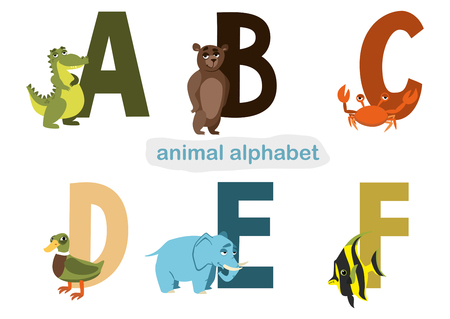 school of fish: animal alphabet. illustration for childrens books with letters and animals on a white background