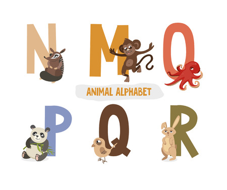 illustration with letters and animals. book for children. ABC. N, M, O, P, Q, R Vectores