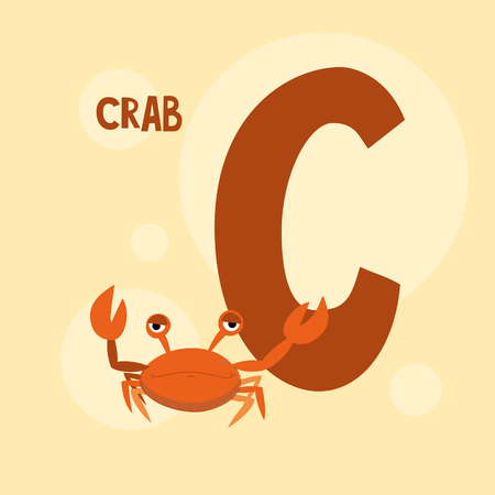 red crab on the pink square background. Vectores