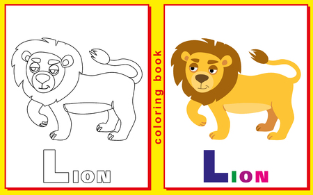 prodigy: Coloring Book for Kids with letters and words. Litter L. lion.