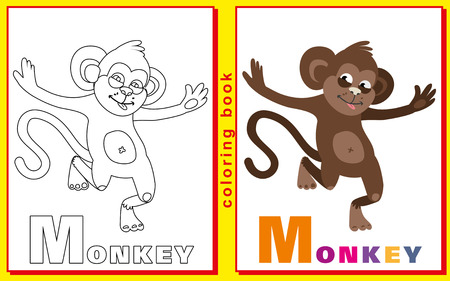 prodigy: Coloring Book for Kids with letters and words. Litter M. monkey.