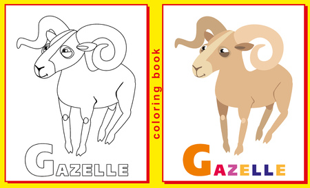 Coloring Book for Kids with letters and words. Litter G. gazelle.