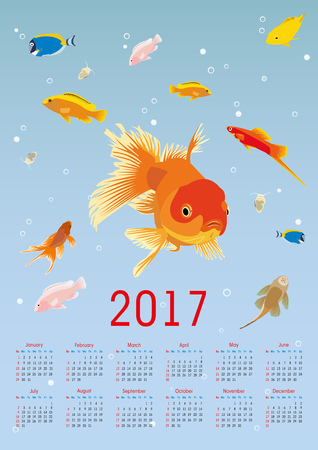 vertical calendar for 2017. aquarium and exotic fish. Illustration