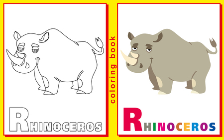 Rhinoceros. Coloring book with letters for children. vector image Illustration