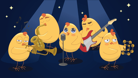 Young chickens play musical instruments on a blue background. vector illustration