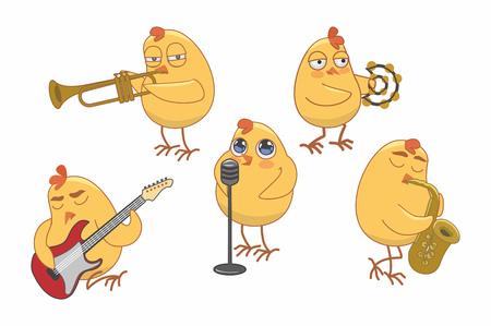 chicks play various musical instruments. vector illustration