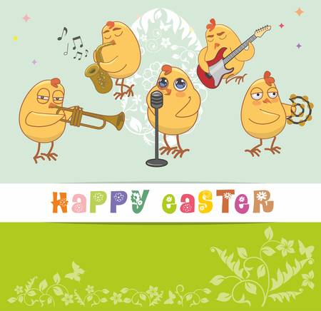 greet card: chickens musicians greet with a happy Easter. vector card Illustration