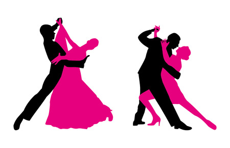 Couples are dancing. Vector clip art magenta and black