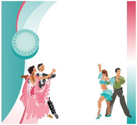 Square frame. Vector image of dancing couples