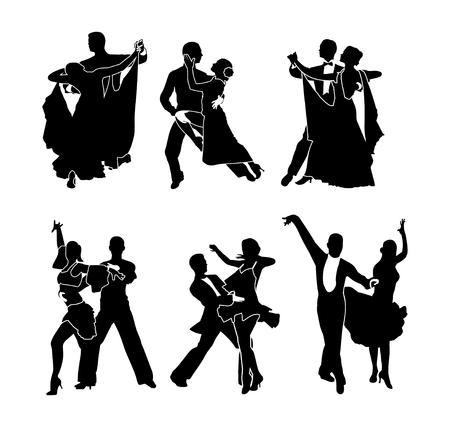 Ein Satz tanzender Paare. Vektor-Illustration. Schwarze Silhouette