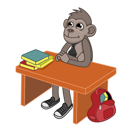 The monkey is sitting at the table. On the table are books, next is a briefcase. vector illustration