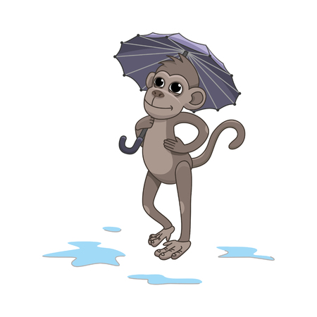 The monkey is holding an umbrella. vector illustration
