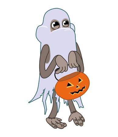 Monkey with Halloween pumpkin on white background. vector illustration