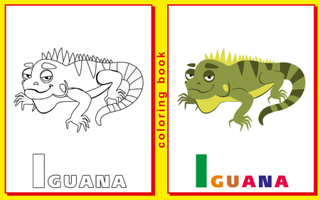children coloring book with letters and words. the letter I. iguana. vector image Illustration
