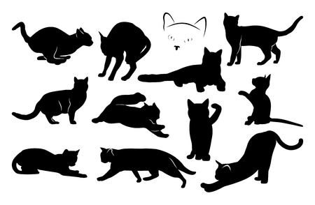 mouser: set of black cat silhouettes Illustration