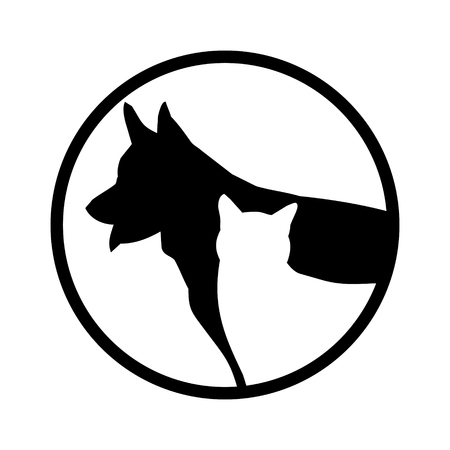 Simple vector images of two animals in black and white. Illustration
