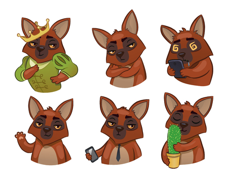 6 dogs. Set of vector emotional animals. stylization. Stickers for emotion transfer