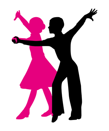 silhouette of a dancing couple. boy and girl on a white background. vector image of magenta and black