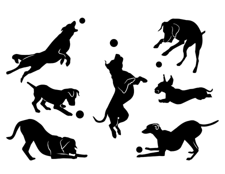 dog playing with a ball. black silhouette. vector Vettoriali