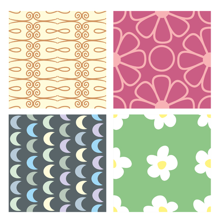 collect: Floral set of color seamless baby wallpaper. vector illustration. flowers, patterns
