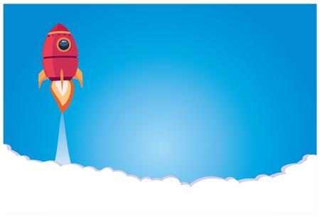 Business startup. a rocket blasting off against a blue background. Illustration