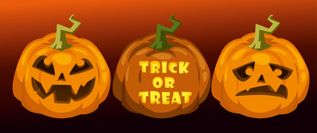 carve pumpkins. trick or treat. horizontal festive halloween background Illustration