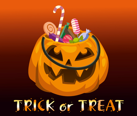 Halloween pumpkin with sweets. bright vector illustration