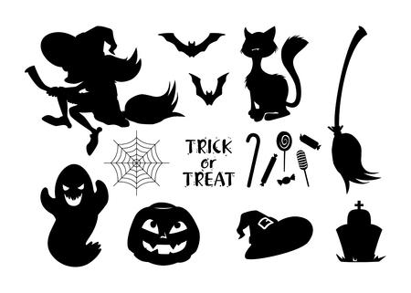 set of black vector Halloween icons. vector Illustration