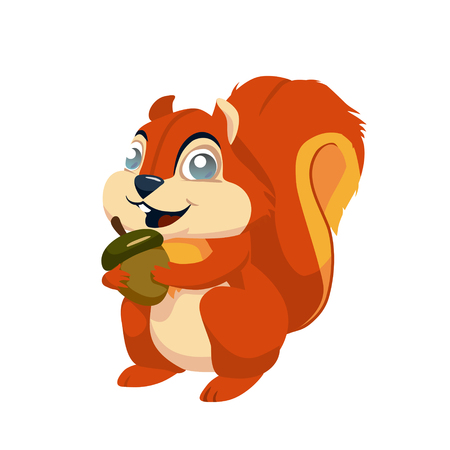 funny cartoon squirrel holding in its paws an acorn. vector